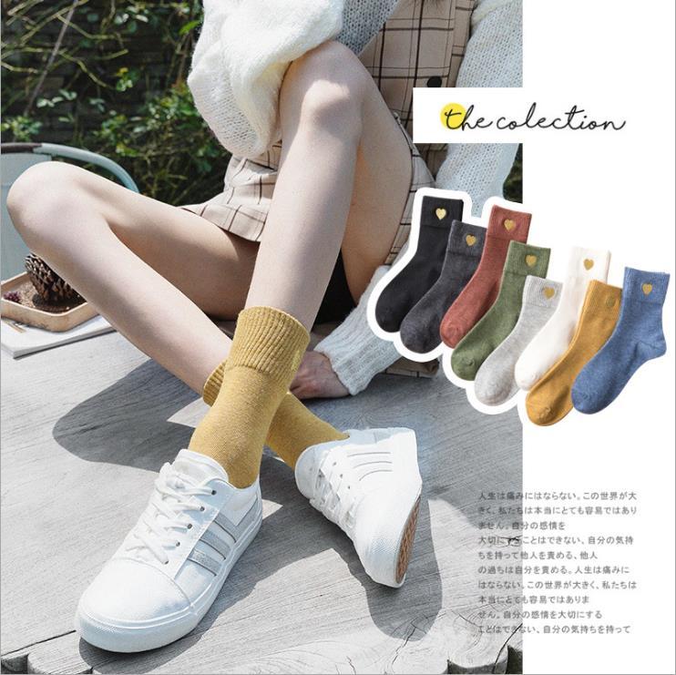 2019新品日系秋冬襪子女 愛心刺繡時尚女襪 中筒襪彩色堆堆襪棉襪