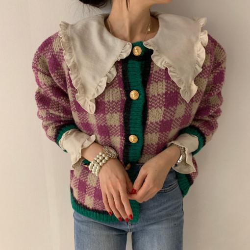 洋氣復古撞色減齡針織外套格子毛衣開衫