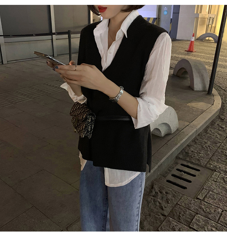 2019秋季新款無袖套頭韓版寬松V領純色針織衫外套潮