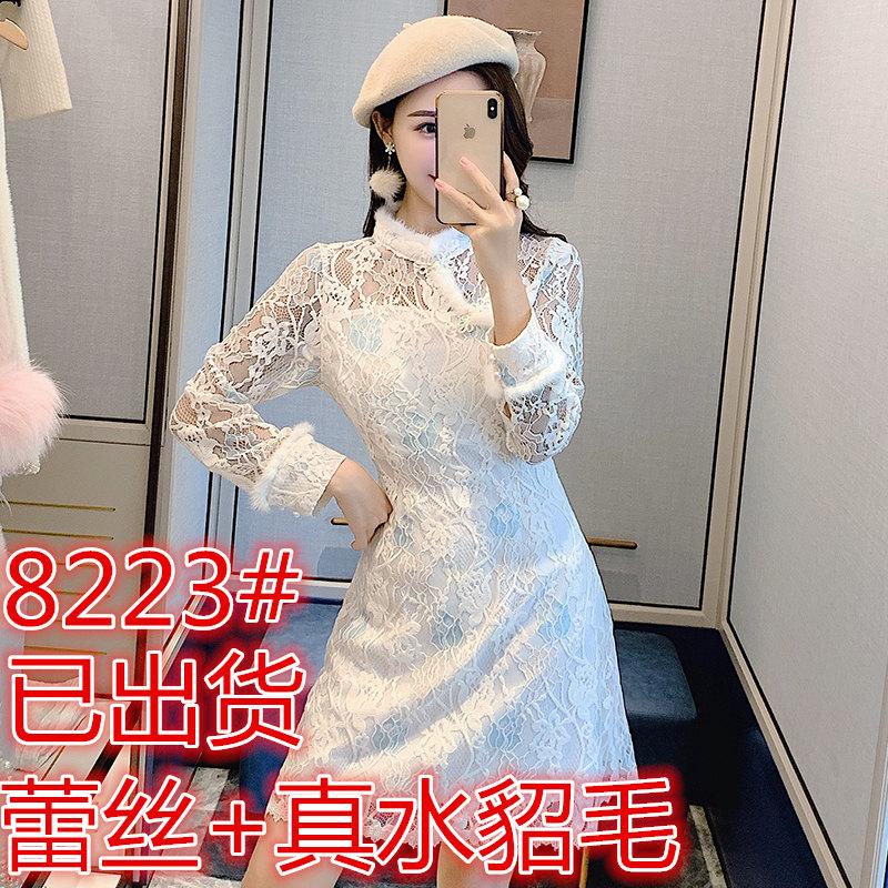 張心子改良版旗袍2019秋冬新款復古小個子白色超仙蕾絲連衣裙女冬