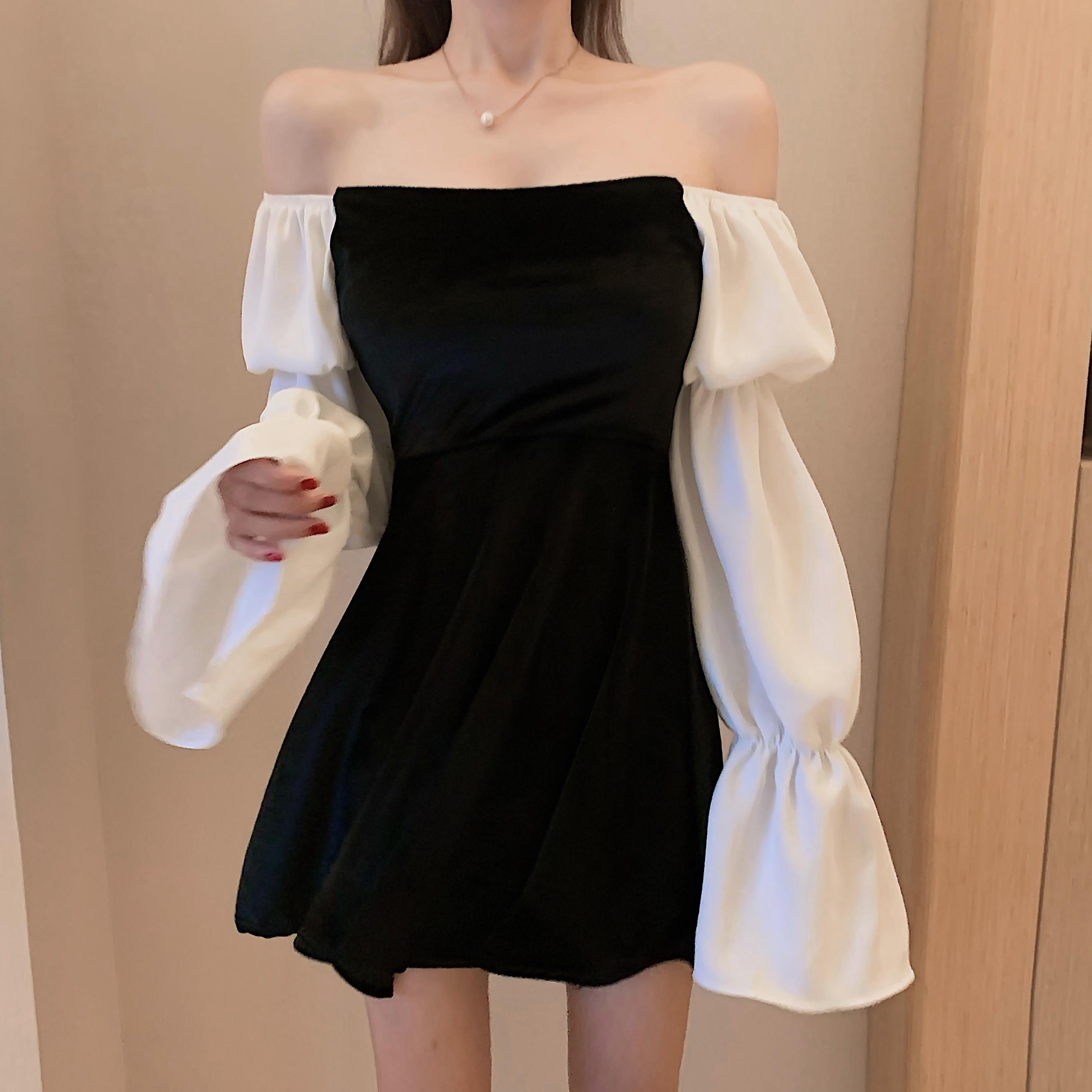 實拍實價~復古絲絨拼接泡泡袖修身方領小黑裙一字肩兩穿連衣裙