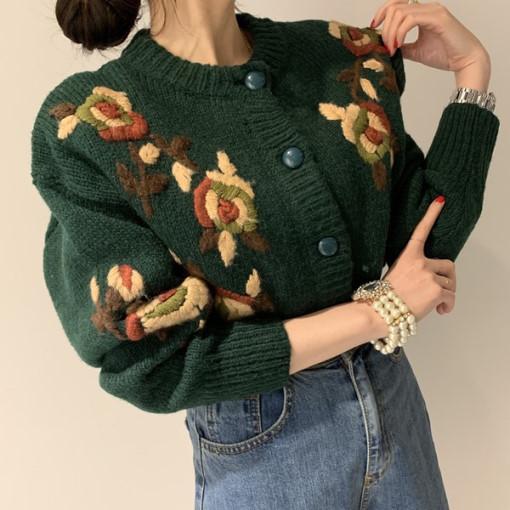 復古手工刺繡花朵百搭單排扣加厚開衫毛衣
