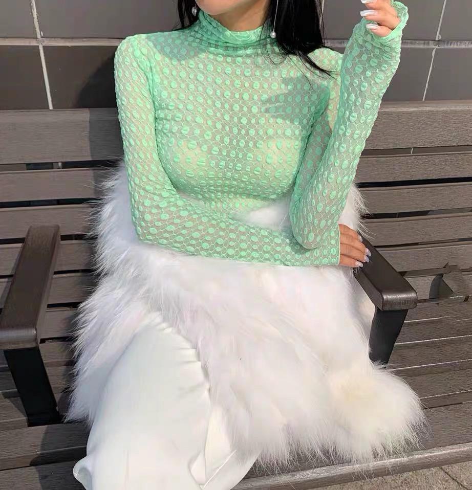 2019秋季新款韓版時尚百搭顯瘦微透性感高領雪紡長袖T恤女打底衫