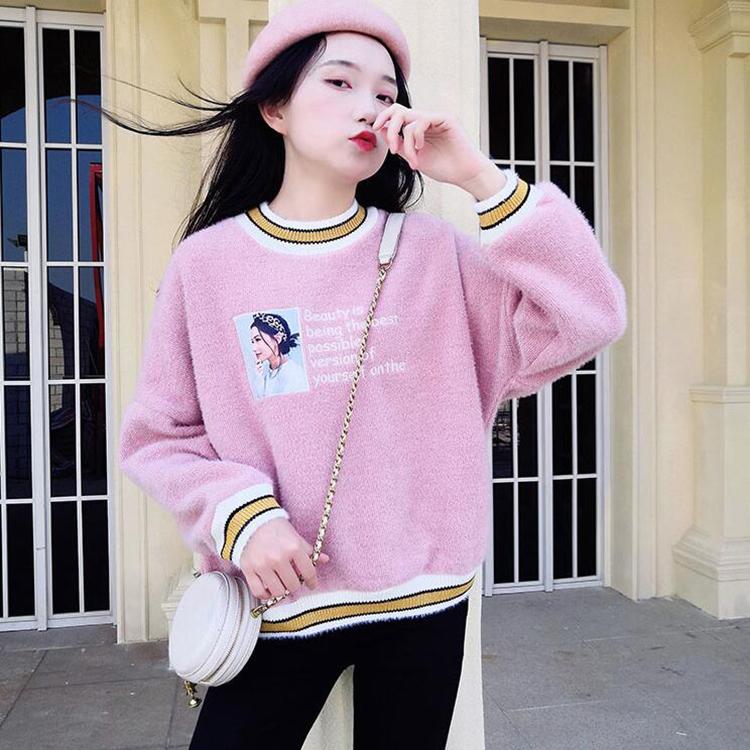 亚博娱乐平台入口2019冬季学院风加绒加厚羊羔绒刺绣拼接高领羊毛假两件卫衣女