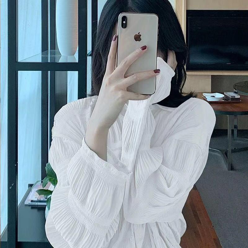 初秋褶皺法式白襯衫女設計感小眾歐貨2019早秋洋氣上衣輕熟