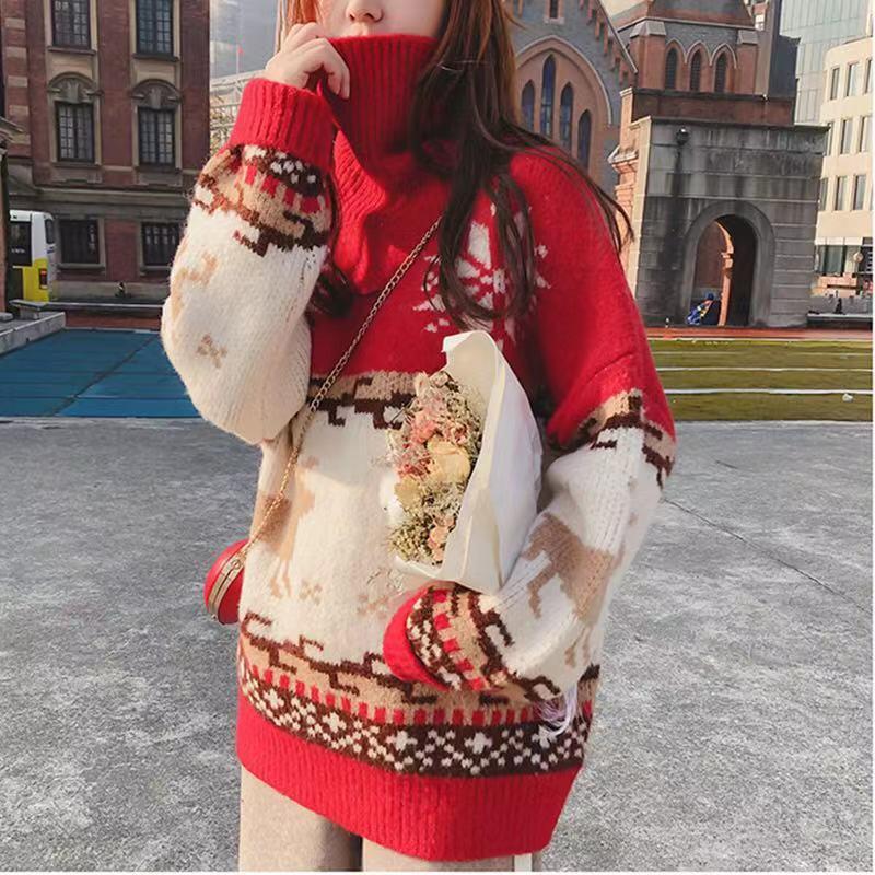 圣诞高领毛衣女冬2019秋冬新款韩版加厚套头宽松法式慵懒风百搭潮