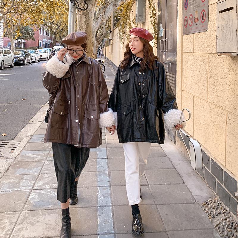 亚博娱乐平台入口现货控价258元 毛绒内胆皮衣拼接加厚棉衣女显瘦夹克棉服外套