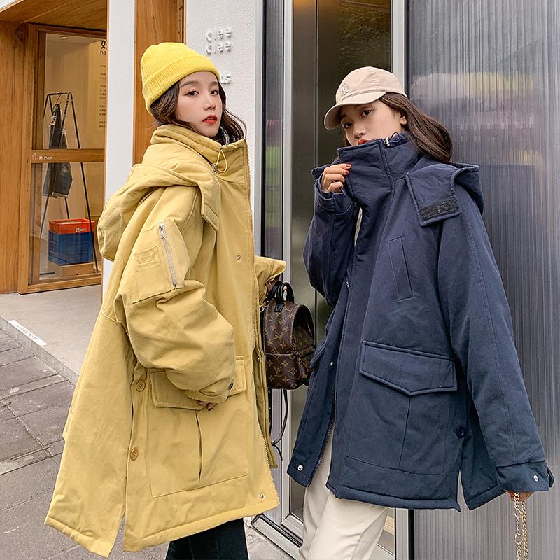 亚博娱乐平台入口 控价238元 工装外套中长款宽松东大门同款棉服女冬学生棉衣