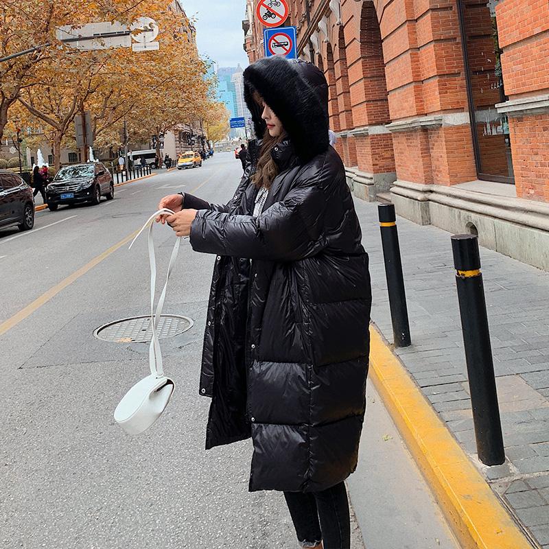 亚博娱乐平台入口现货 控价268元 东大门同款潮长款棉服黑色羽绒棉衣外套