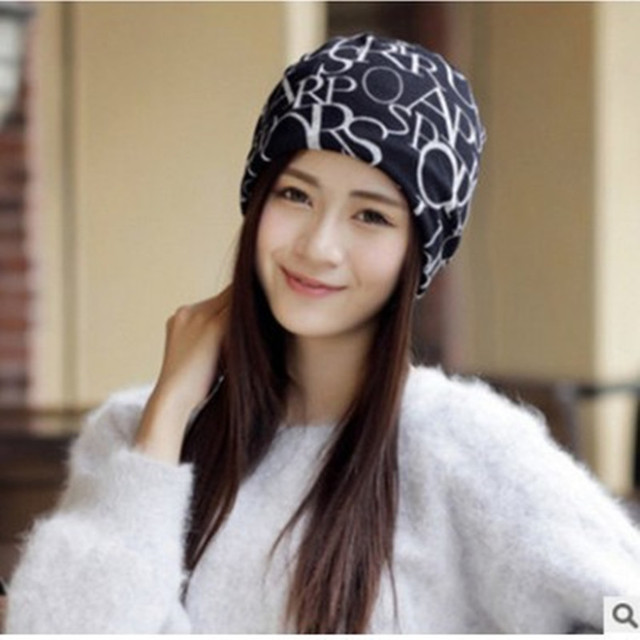 2019新款韓版針織月子帽套頭帽女秋冬天包頭帽涂鴉英文字母產婦帽
