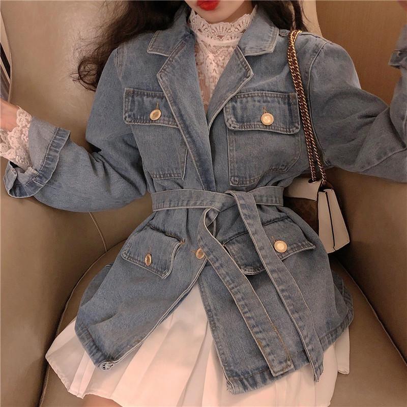 實拍實價 蕾絲鏤空打底衫+休閑時尚帥氣牛仔夾克外套送腰帶