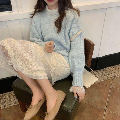2019秋冬新款女裝名媛小香風套裝秋季時尚氣質洋氣毛衣