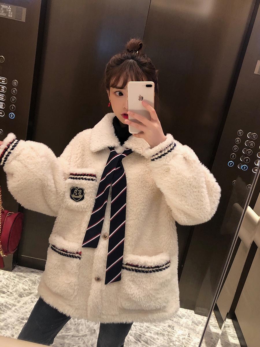 珍珍家韓版學院風白色羊羔毛外套2019新款毛毛棉服棉衣女冬季加厚