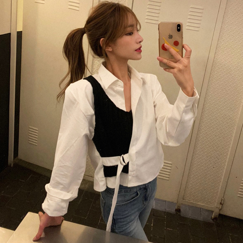 早春 新款現貨!韓版新款時尚洋氣設計感拼接針織系帶假兩件襯衫