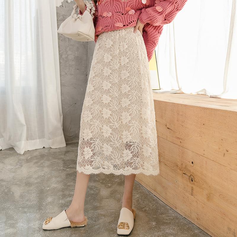 秋冬韓版2019新款超仙蕾絲長裙高腰顯瘦兩面穿針織半身裙中長款女