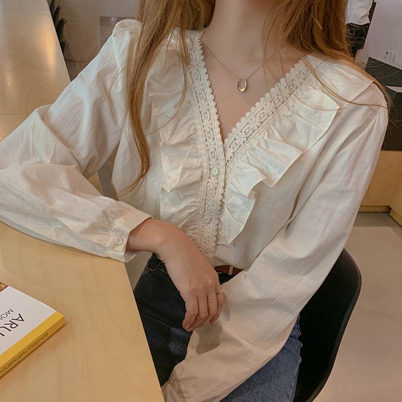 早春 韓國chic百搭甜美減齡木耳邊拼接V領單排扣長袖襯衫上衣