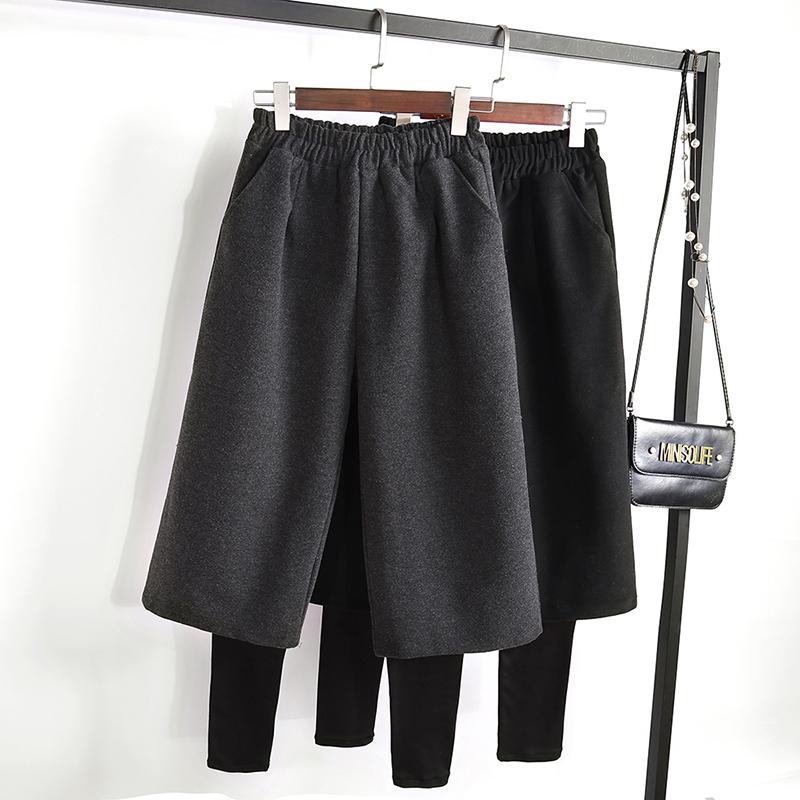 秋冬加厚毛呢假兩件闊腿褲女寬松韓版加絨保暖打底褲九分寬腿褲子