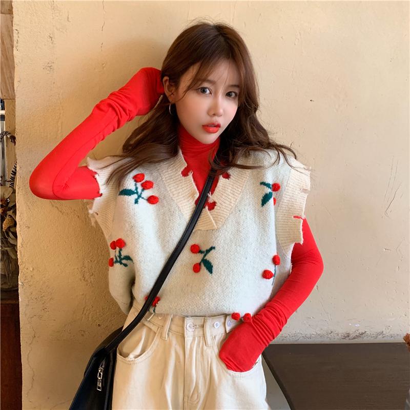 實拍實價 櫻桃套頭馬甲毛衣背心女秋冬內搭紅色高領打底衫套裝