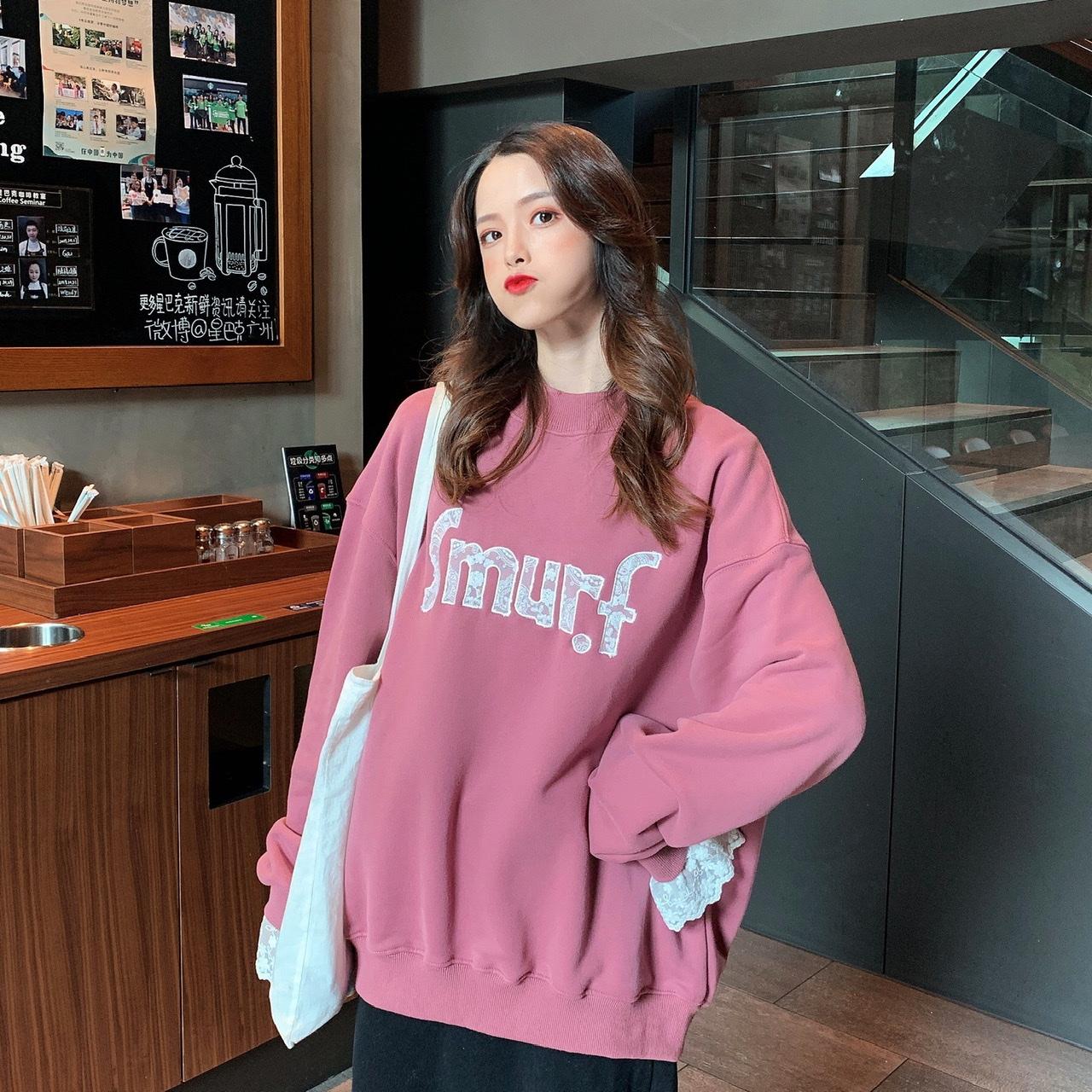 實拍實價 韓版寬松假兩件拼接蕾絲邊加絨衛衣