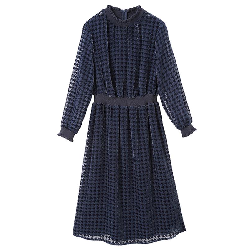 實拍2020流行女裝新款春季新款復古千鳥格藍色格子連衣裙女中長款