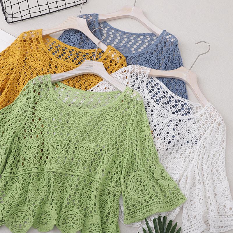 实拍夏装新款钩花镂空罩衫女短袖小披肩外套蕾丝棉针织罩衫短上衣