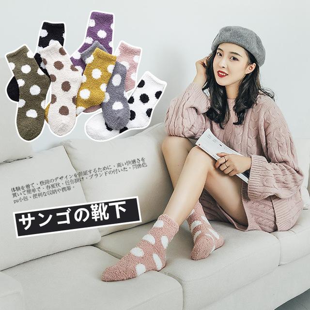 2019秋冬襪子女 波點珊瑚絨加厚保暖中筒襪 家居地板襪睡眠襪子