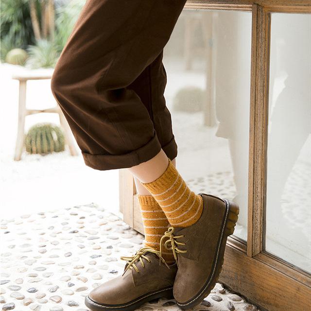 2019秋冬新款條紋襪子女日系點子紗女士羊毛襪復古森系保暖中筒襪