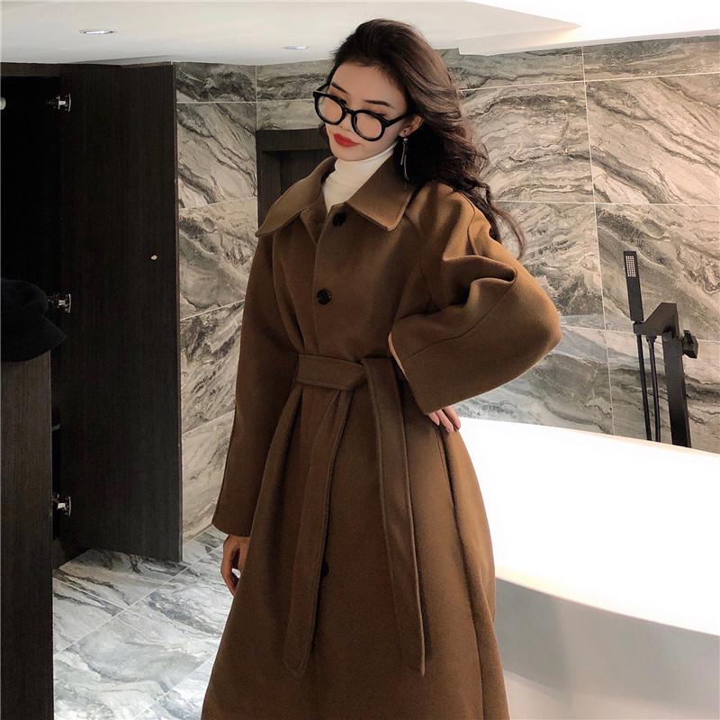实拍实价 韩国 温柔气质 宽松慵懒 翻领系带毛呢外套