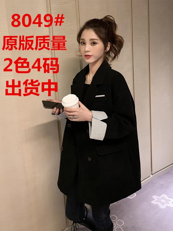 2019冬季新款韓版中長款黑色毛呢大衣女寬松英倫風繭型小西裝外套