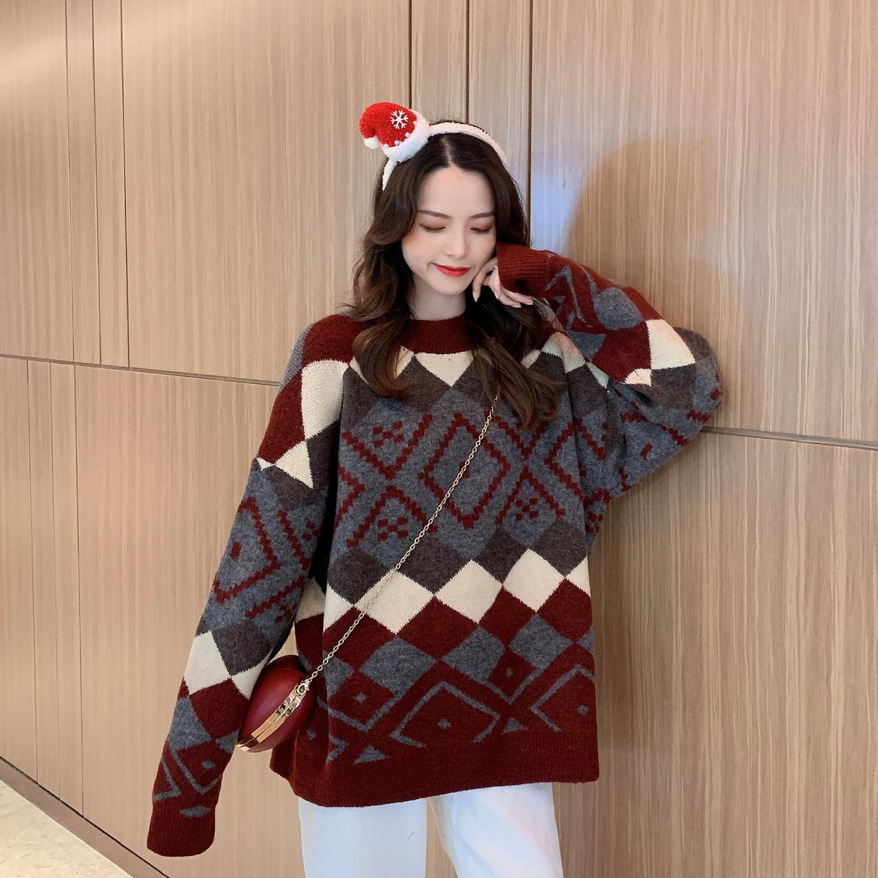 實價實拍 秋冬韓版寬松顯瘦拼色套頭針織毛衣女