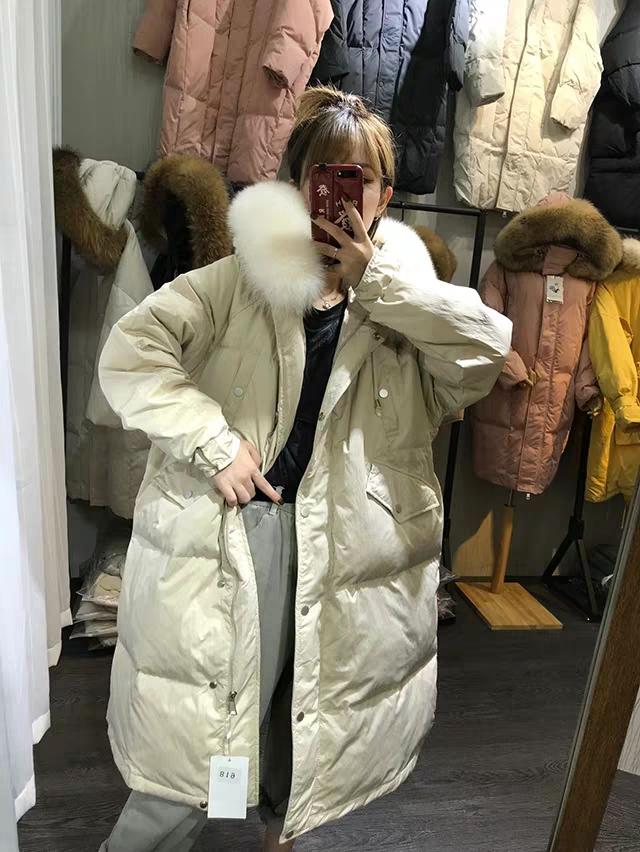 韩国东大门狐狸毛领羽绒服女中长款加厚2019冬宽松收腰白鸭绒外套
