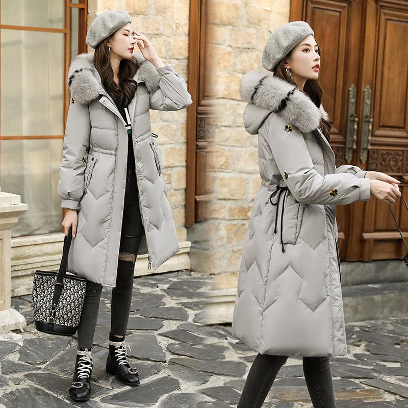 實拍新款韓版時尚腰帶修身羽絨服中長款棉衣大毛領寬松棉服外套女