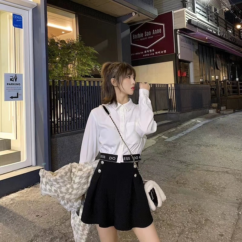 EZ14定制2019秋新品加厚毛呢料褲裙打底裙褲+我超A字母短襯衫套裝