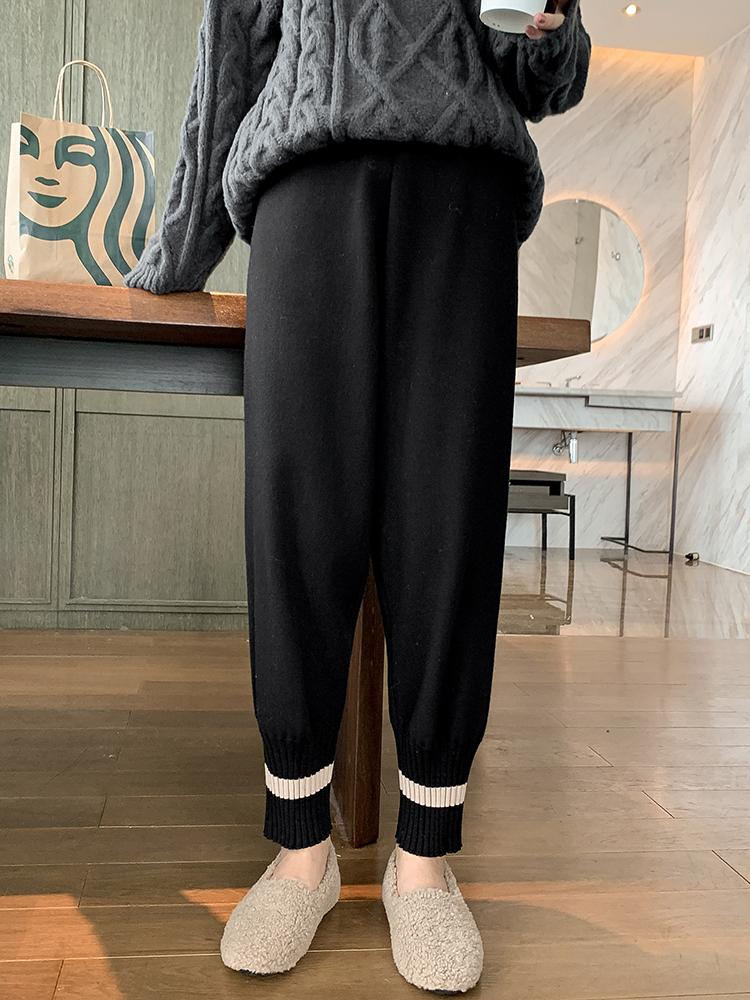 針織奶奶褲女秋冬裝2019年新款百搭高腰寬松顯瘦束腳休閑哈倫褲子