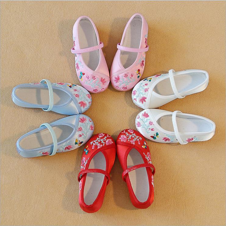 兒童繡花鞋漢服鞋子女童小女孩古裝寶寶老北京布鞋舞蹈鞋