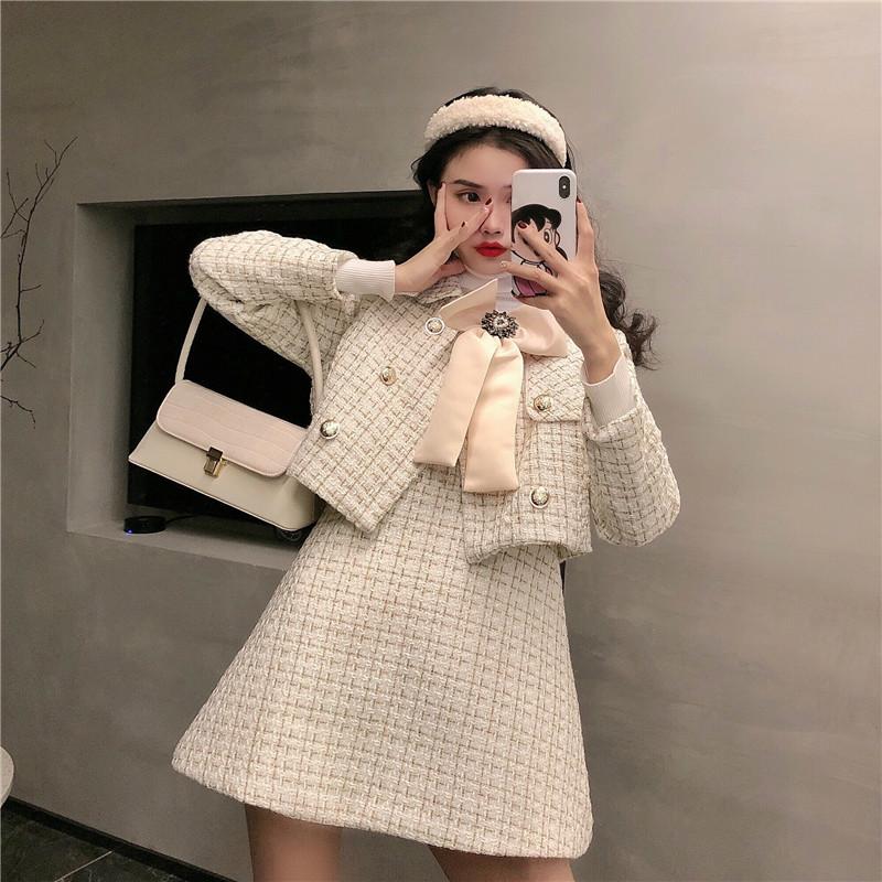 实拍实价 小香风格子西装小外套+V领蝴蝶结背心连衣裙两件套