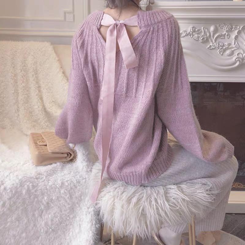 2019针织衫秋冬温柔风宽松短款灯笼袖蝴蝶结系带慵懒风套头毛衣