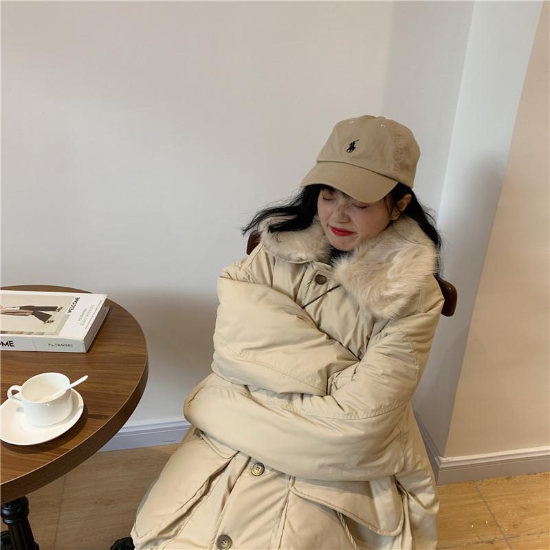 实拍 实价 控价+2 宽松单排扣长袖加厚棉衣中长款纯色大毛领棉服