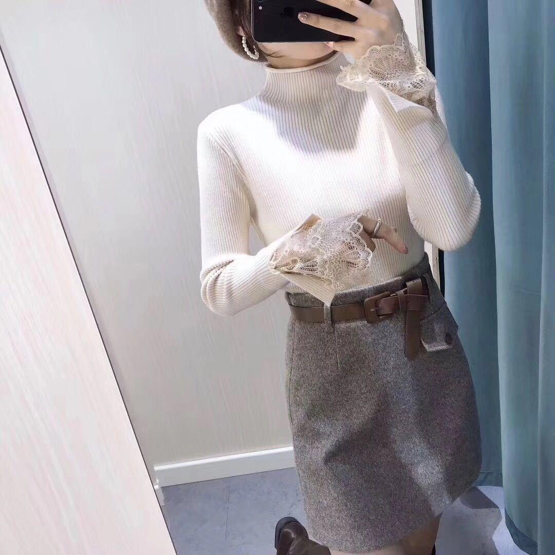 加厚新款保暖袖口蕾丝韩版针织上衣双纱中厚版高弹针织衫