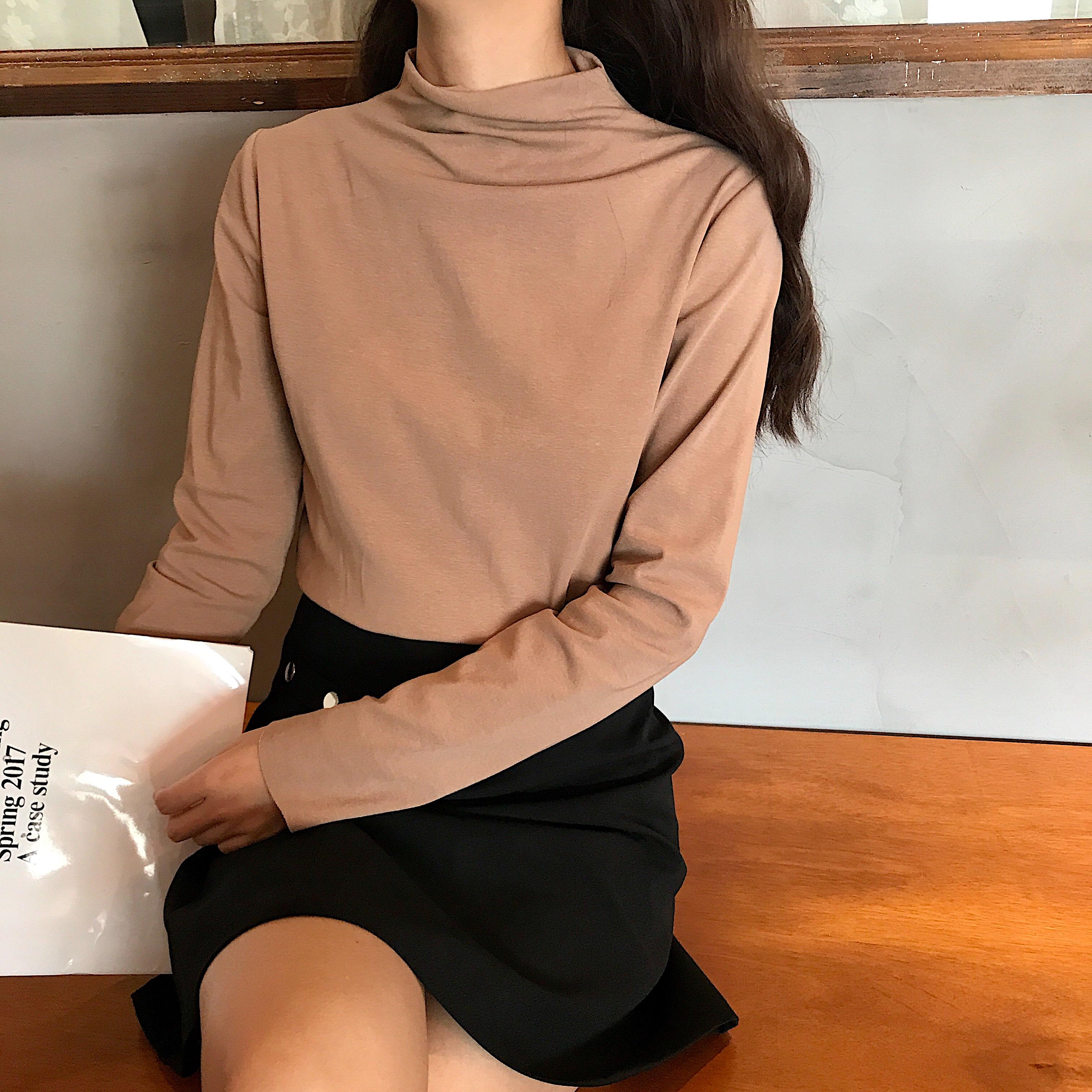 售加5實拍韓版長袖半高領打底衫女修身彈力多色基礎T恤上衣