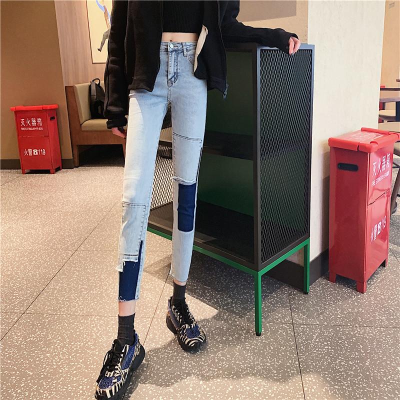 實拍實價 不規則撞色拼接牛仔褲新款緊身顯瘦煙灰色小腳褲