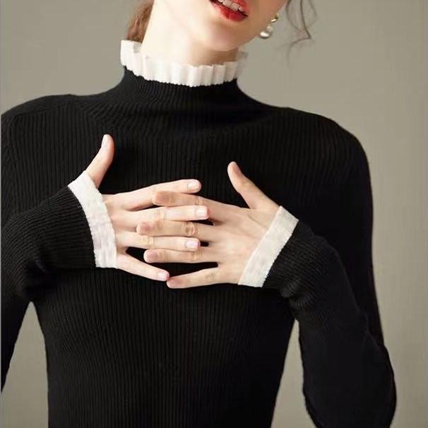 修身蕾丝半高领针织衫女秋冬2019新款毛衣木耳边打底衫内搭羊毛衫