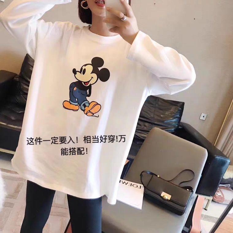 2019秋冬韓版超火大版卡通加絨加厚t恤女學生寬松百搭長袖打底衫