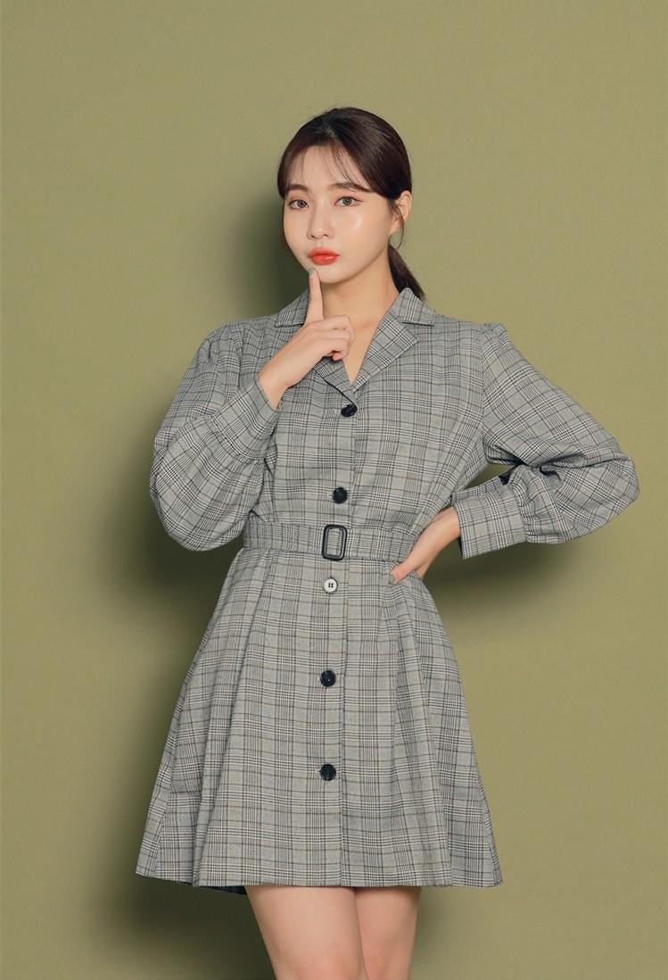 韩国东大门代购翻领单排扣腰带修身复古格子长袖连衣裙