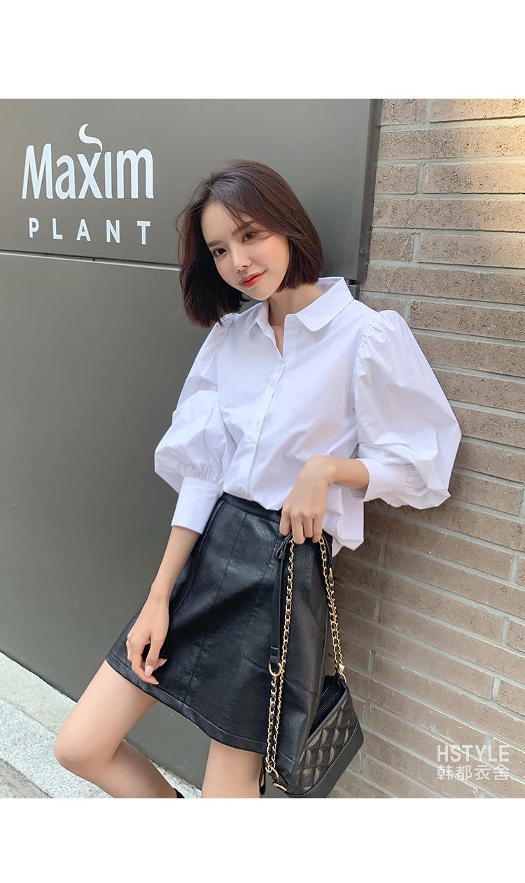 2020春装新款韩女装宽松设计?#34892;?#20247;长袖白衬衫RE1026鲲