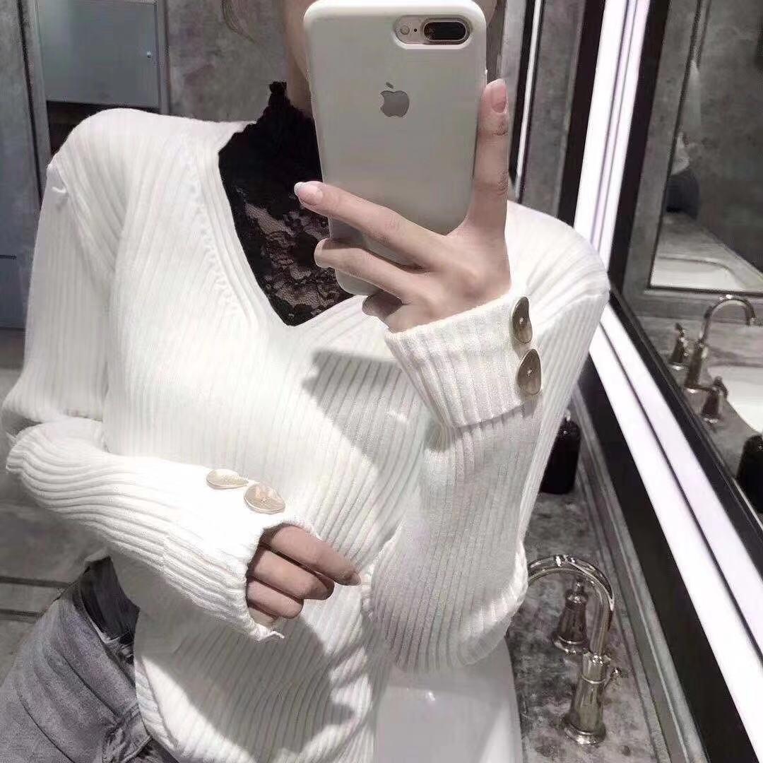 非实拍欧洲站19秋冬半高领蕾丝拼接修身显瘦毛衣女洋气打底针织衫