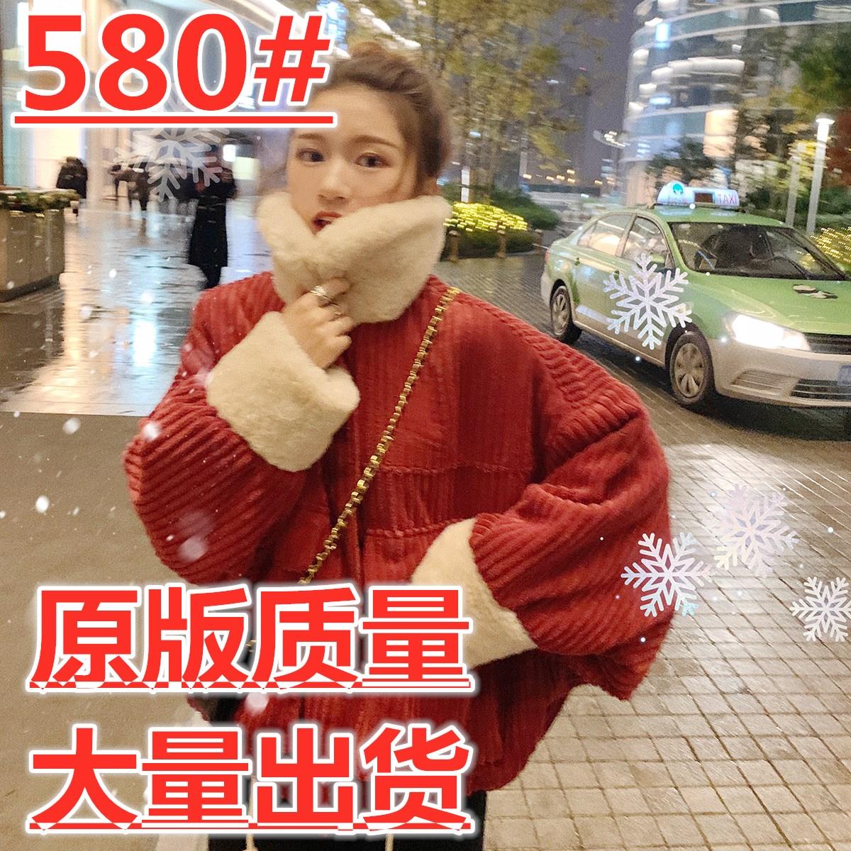 12.12新品9.5折 你还缺一件 红色灯芯绒外套女冬翻领加厚拼接夹克
