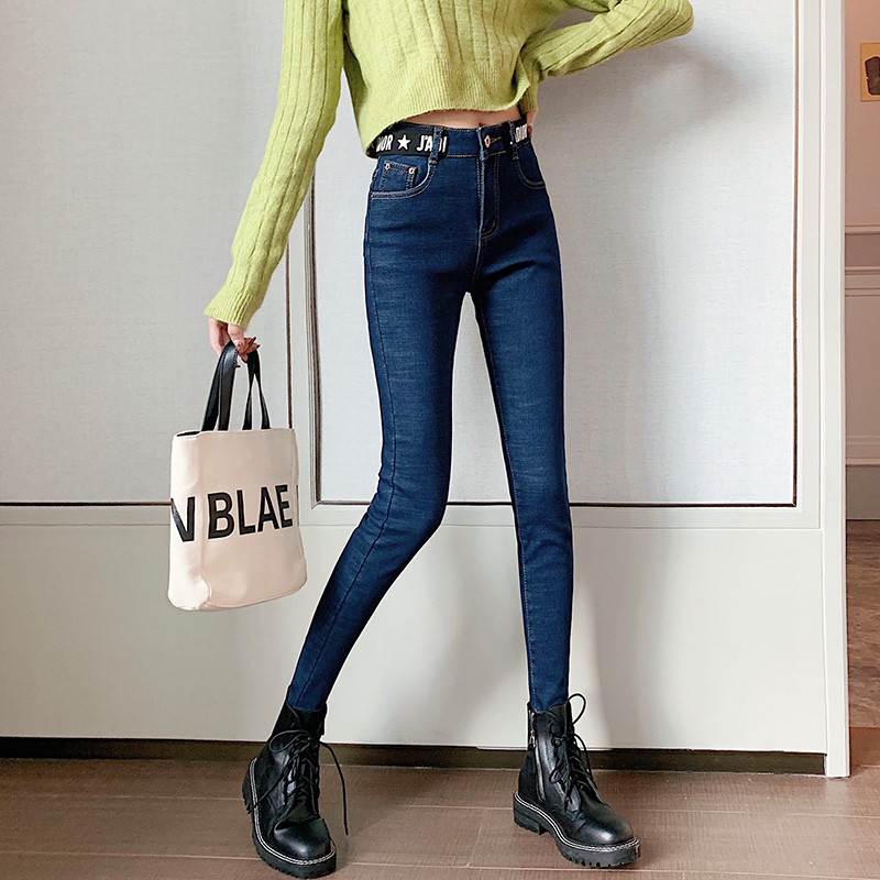 实拍现货牛仔裤女裤秋冬季新款2019显瘦黑色小脚加厚加绒高腰长裤