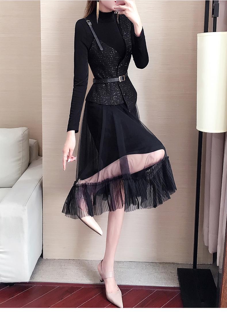 套装裙子两件套秋韩版洋气女装2019新款打底针织连衣裙女秋冬气质