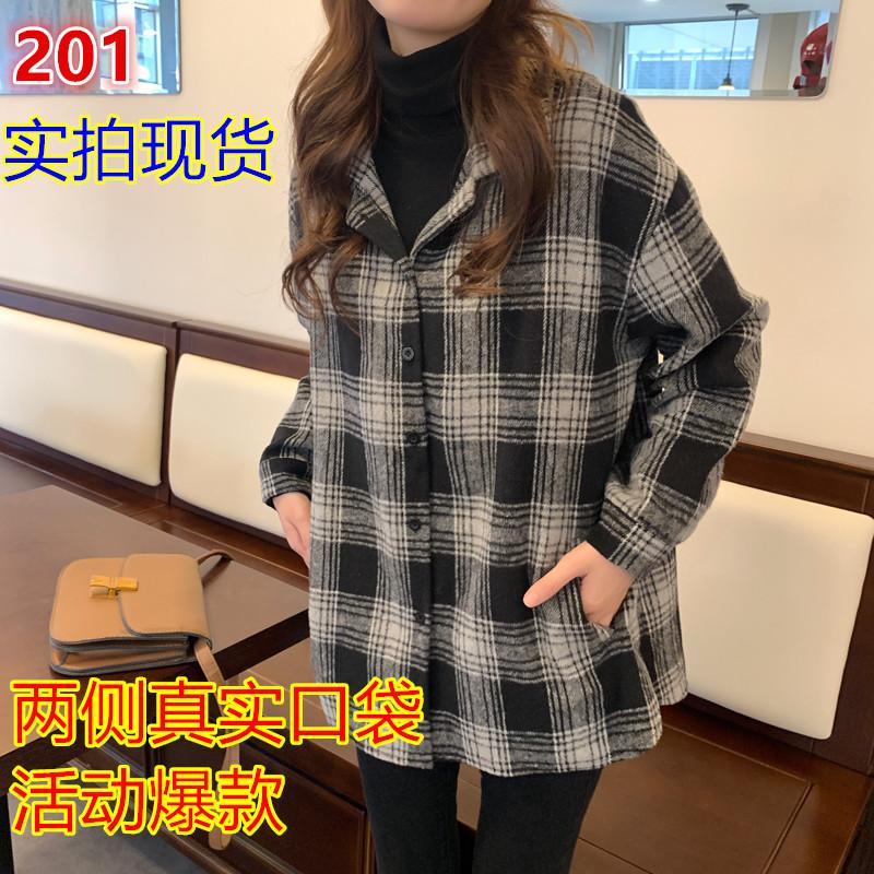 复古港味黑色黑白格子衬衫女设计?#34892;?#20247;秋冬长袖外套宽松百搭